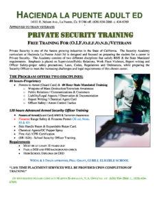 PRIVATE SECURITY TRAINING FREE TRAINING FOR (O.I.F./O.E.F./O.N.D.)VETERANS