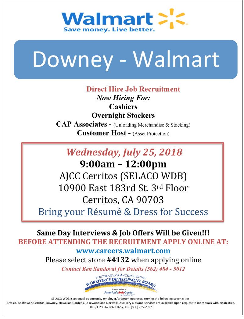 Downey – Walmart Recruitment July 25th | SELACO WDB