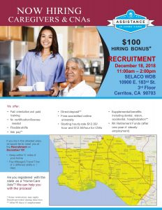 Now Hiring Caregivers & CNAs December 18, 2018
